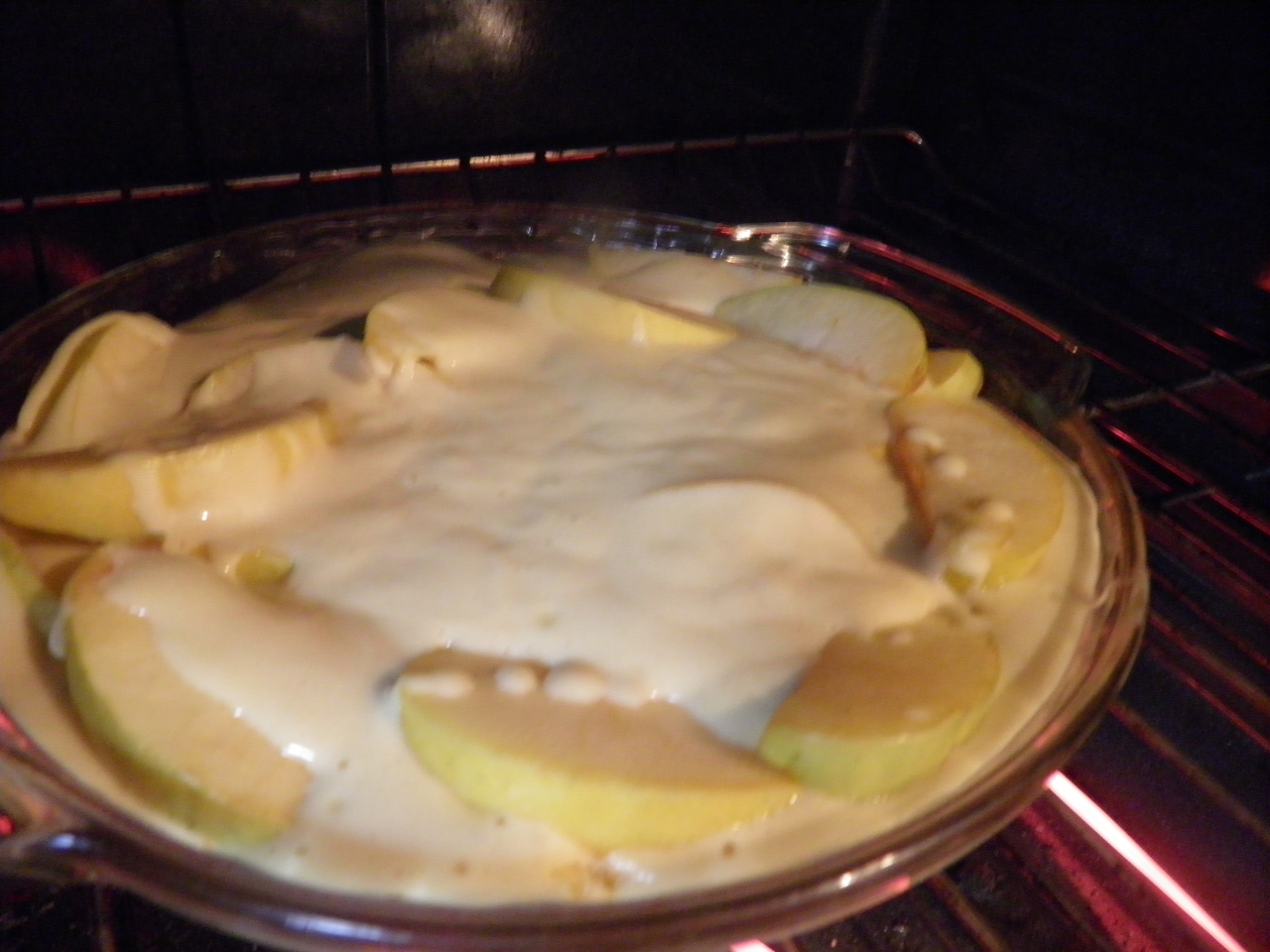 Gluten Free Clafoutis in the oven
